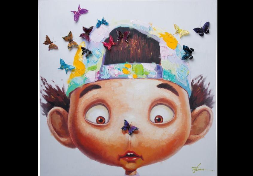 Glezna sajūsmināts zēns ar tauteņiem Kare 35201